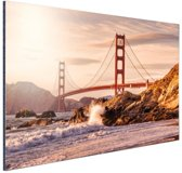 Golden Gate Bridge Aluminium 120x80 cm - Foto print op Aluminium (metaal wanddecoratie)