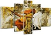 Glasschilderij Roos   Wit, Bruin, Geel   170x100cm 5Luik   Foto print op Glas    F003169