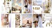 50 Luxe Kerst- en Nieuwjaarskaarten - 9,5x14cm  - 10 x 5 dubbele kaarten met enveloppen - serie Gezegende Kerstdagen en een Voorspoedig Nieuwjaar