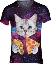 Pizza en taco kat festival shirt Maat: M V-hals