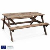 Padano - picknicktafel van grenen, 6 stoelen met banken