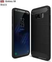 Carbon Fibre Brushed TPU Hoesje Samsung Galaxy S8 - Zwart