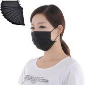 50 x Stevig zwart mondkapje 16.7 x 9.5 cm - 3-laags - Geschikt voor de bouw, klussen, Medische beroepen etc.
