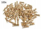 Kleine Houten Mini Knijpers - Kaart Was Knijpertjes - Foto Knijpers Geboorte Wasknijpers - 100 Stuks