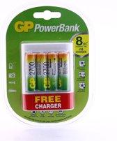 GP U411 USB lader voor 4x AA/AAA NiMH Oplaadbare batterijen - Inclusief 4x GP AA 2700 mAh Batterijen