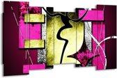 Canvas schilderij Abstract | Paars, Groen, Wit | 150x80cm 5Luik