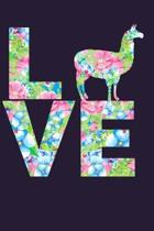 I Love Llamas Floral Notebook Journal