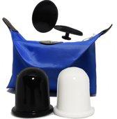 2 stuks Color cups + pad in make up tasje - cupping massage set -vacuüm massage cups – stimulatie bloedsomloop – silicone cupping set – strakke huid – cellulite apparaat – cellulite massage cups – gift set vrouwen