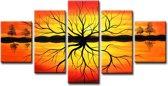 Zonsondergang - Canvas Schilderij Vijfluik 160 x 80 cm