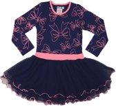 LoFff Meisjes Jurk Dancing ZG-1105 - Blauw/Felroze - Maat 110-116