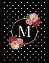 Black and White Polka Dot Vintage Floral Monogram Journal with Letter M