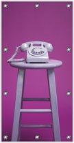 Tuinposter –Ouderwetse Telefoon met een Fuchsia Achtergrond– 100x200cm Foto op Tuinposter (wanddecoratie voor buiten en binnen)