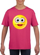 Smiley/ emoticon t-shirt diva roze kinderen XS (110-116)