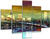 Glasschilderij Steden | Oranje, Blauw, Geel | 100x70cm 5Luik | Foto print op Glas |  F003452