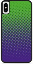 iPhone Xs Max Hardcase hoesje lime paarse cirkels