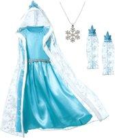 Elsa Frozen jurk Cape 110 Luxe met bontkraag + GRATIS ketting maat 104-110 Prinsessen jurk verkleedkleding