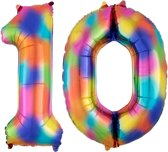 Cijfer 10 Regenboog Helium 86 cm