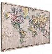 Wereldkaart Vintage Canvas groot 120x80 cm | Wereldkaart Canvas Schilderij