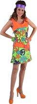 Disco Hippie Flower Power jurkje met neon kleuren maat S (36)