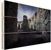 Stonehenge van de binnenkant Vurenhout met planken 120x80 cm - Foto print op Hout (Wanddecoratie)
