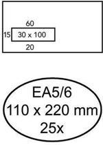 Quantore Envelop EA5/6 110x220mm, Venster links 3x10cm, Zelfklevend, Wit, 25 stuks