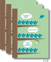 3x Dubbele A4 kaart met envelop - Veel Succes - Formaat: 235 x 310 mm