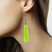 Kwastjes oorbellen neon groen