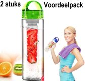 Waterfles met Fruitfilter (BPA VRIJ) 2 stuks GROEN