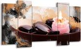 Canvas schilderij Spa   Roze, Bruin, Geel   120x65 5Luik