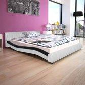 vidaXL Bed met traagschuimmatras kunstleer 160x200 cm zwart en wit