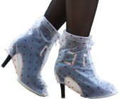 LUCKY MIZZLE Rain Shoe Cover for heels transparent/pink dots M