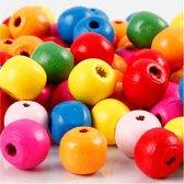Houten kralen mix d: 10 mm gatgrootte 2 5-3 mm diverse kleuren 22gr circa 70 div