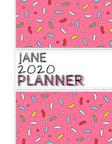 Jane: : 2020 Personalized Planner: One page per week: Pink sprinkle design