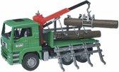 Bruder 02769 – MAN houttransportwagen met laadkraan en 3 boomstammen - Vrachtwagen