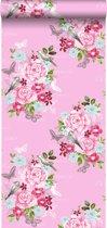 HD vliesbehang bloemen en vogels roze - 138120 ESTAhome.nl