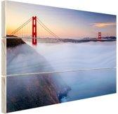 Golden Gate Bridge in de mist Hout 60x40 cm - Foto print op Hout (Wanddecoratie)