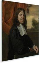 Zelfportret - Schilderij van Jan Steen Plexiglas 120x160 cm - Foto print op Glas (Plexiglas wanddecoratie) XXL / Groot formaat!