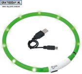 LED honden halsband - USB oplaadbare Honden / katten halsband   Groen 20 - 70 CM