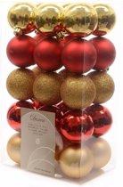 Kerstboom decoratie kerstballen mix goud/rood 30 stuks