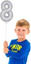 Mini Figuurballon Zilver Cijfer 8