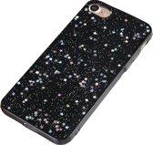 Luxe Glitter Case voor Apple iPhone 7 - iPhone 8 - Hoogwaardig TPU hoesje - Zwart met Glitters Cover