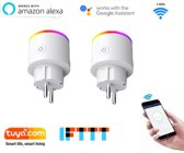 Smart plug - Set van 2 - Slimme stekker 16A - Google assistant - Amazon Alexa - IFTTT en Tuya met stroommeting en led.