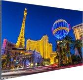 Las Vegas Strip bij schemering Aluminium 90x60 cm - Foto print op Aluminium (metaal wanddecoratie)