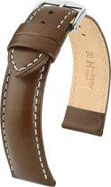 Hirsch horlogeband - TROOPER bruin leer bandbreedte 24mm
