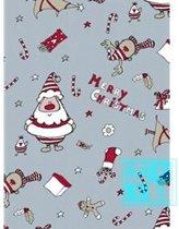 Cadeaupapier kerstmis: K691426/3 Happy Claus Ice Blue - Toonbankrol breedte 40 cm
