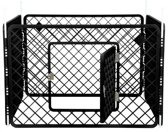 Puppyren 4 panelen donker grijs 90x90x60 cm