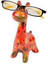 Pomme Pidou brilhouder giraffe Patsy - Oranje met bloemen met gezichtjes