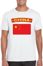 China t-shirt met Chinese vlag wit heren M