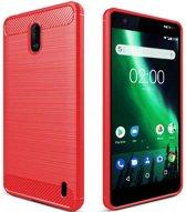 Nokia 2 - Geborstelde TPU Cover - Rood