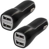 HAWEEL Universele Autolader - 2 USB poorten 5V 1.0 + 2,1A - Grijs Incl. LED Blauw
